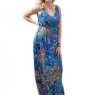 Rochie lunga din voal multicolor