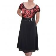 Rochie moderna, eleganta, pentru ocazii, model scurt, negru-visiniu