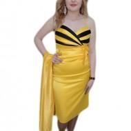 Rochie mulata, nuanta de galben, decolteu rafinat in V