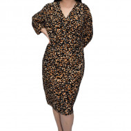 Rochie office Fana ,imprimeu animal-print,maro