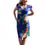Rochie rafinata de culoare albastra cu flori rosii, model scurt