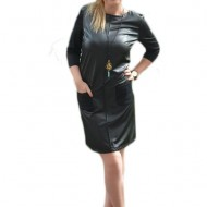 Rochie rafinata, de culoare neagra din piele ecologica