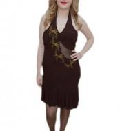 Rochie rafinata de gala, maro, cu insertie de material transparent