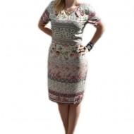 Rochie rafinata de vara cu imprimeu fin multicolor, masura mare