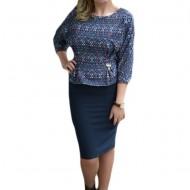Rochie rafinata formata din fusta simpla, conica si bluza colorata