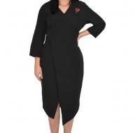 Rochie rafinata Mila cu crepeu in fata,model asimetric,nuanta negru