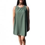 Rochie simpla de nuanta verde inchis, realizata din voal fin