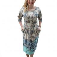 Rochie tinereasca cu maneci trei-sferturi si imprimeu turcoaz