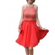 Rochie tinereasca de ocazie, rosie, cu tul si design de margele