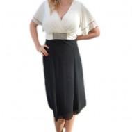 Rochie trendy de ocazie in combinatie de negru-alb, din voal fin