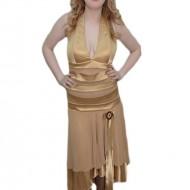 Rochie trendy de seara, cu lungime asimetrica, de culoare bej