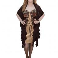 Rochie trendy, nuanta de maro, design deosebit aplicat
