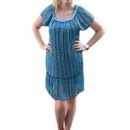 Rochie vaporoasa de vara, de culoare albastra, cu croi drept