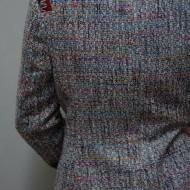 Sacou casual cu maneca lunga, din tesatura cu fibre multicolore