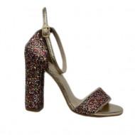 Sanda eleganta cu toc gros, stabil, design de sclipici multicolor