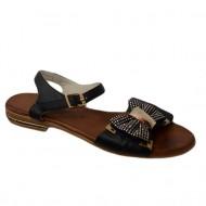 Sandale fara toc, din piele accesorizate cu o fundia cu strasuri auri