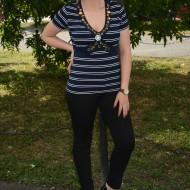 Tricou casual, cu dungi orizontale, de culoare bleumarin-alb