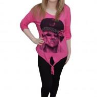 Tricou in nuanta de roz, disponibil in marime universala