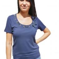Tricouri casual, croi drept pe corp, albastre, bleumarin