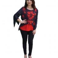 Bluza Adriena de ocazie ,model floral,nuanta rosu-bleumarin