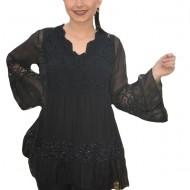 Bluza Amalia cu insertii de paiete si decolteu in V,nuanta de negru