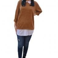 Bluza Ava casual-buusiness cu tricot din catifea ,nuanta de maro