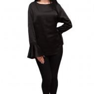 Bluza chic, eleganta, din material usor luciuos, nuanta de negru