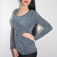 Bluza cu imprimeu digital natural in nuanta de gri