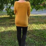 Bluza de toamna-iarna cu aspect original, nuanta galbena cu alb