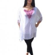 Bluza deosebita din matase alba cu imprimeu nonfigurativ violet