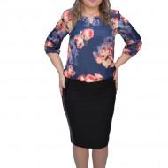 Bluza eleganta Crisa ,imprimeu cu motive tip rose ,nuanta de bleumarin