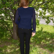 Bluza eleganta cu maneca din voal cu design plisat, bleumarin