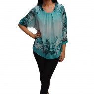 Bluza feminina cu imprimeu floral si aplicatii de strasuri, turcoaz