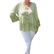Bluza lejera Carina cu insertii de dantela, nuanta de verde