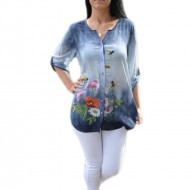 Bluza lejera cu imprimeu floral,culoare bleumarin