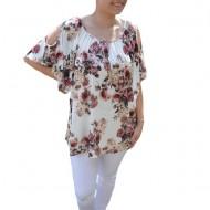 Bluza lejera Mira cu imprimeu floral,motive mini rose si decupaj la umeri,nuanta de alb