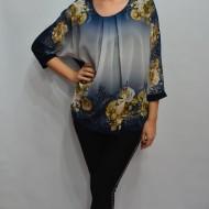 Bluza moderna cu imprimeu de flori si strasuri fine, bleumarin