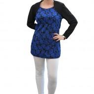 Bluza moderna, nuanta de albastru, masuri mari, cu design floral