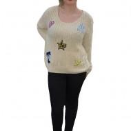 Bluza moderna, tricotata, nuanta de bej, cu diverse modele