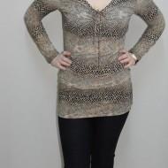 Bluza tinereasca cu design animal-print, model lung, cambrat