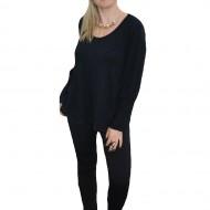 Bluza trendy din material cu aspect tricotat, negru, model simplu