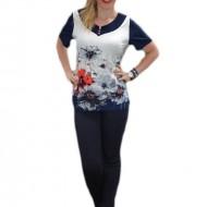 Bluza trendy din material racoros, bleumarin cu design colorat