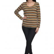 Bluza tricotata,imprimeu in culori abstracte,nuanta de galben