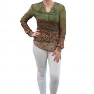 Bluza verde inchis cu imprimeu colorat si top cu bretele dedesubt