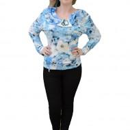 Bluze cu maneca lunga, albastre, cu un design modern