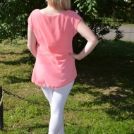 Bluze cu maneca scurte, din voal, verzi, corai, roz, bej