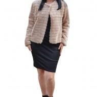 Bolero elegant Denisse din blana sintetica,model matlasat ,crem
