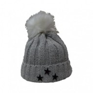 Caciula tricotata de culoare gri deschis, material tricotat gri deschis
