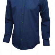Camasa bleumarin cu imprimeu de buline verzi, model slim
