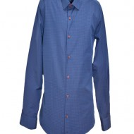 Camasa bleumarin pentru barbati, cu imprimeu de buline rosii